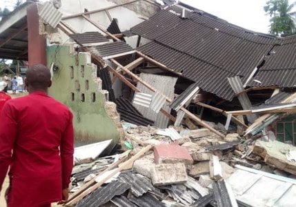 100 year old catholic church collapses during sunday mass delta state