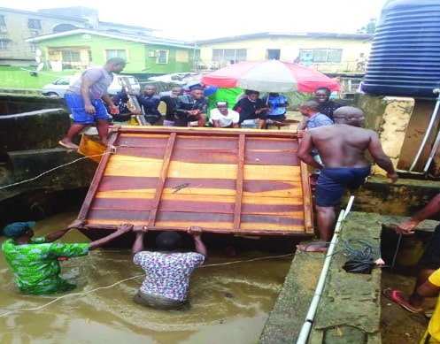 container falls flood lagos