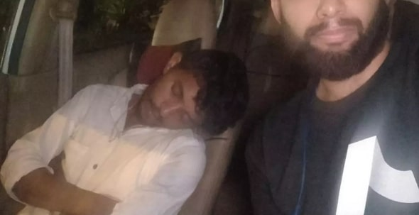 drunk uber driver passes out behind wheel