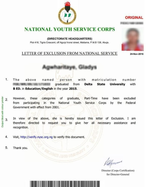 nysc letter of exclusion