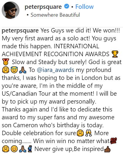 peter okoye first award