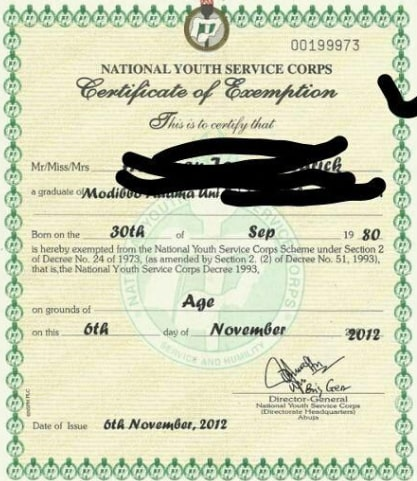 pictures of nysc exemption certificate