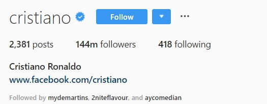 ronaldo most followed instagram person 2018