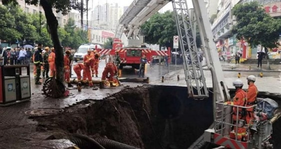 sinkhole swallows newly married couple china