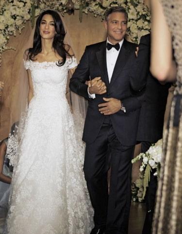 Amal Clooney Oscar de la Renta wedding dress 3rd most expensive