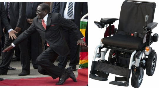 mugabe using wheelchair