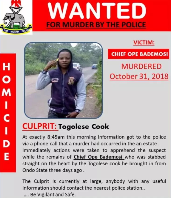 nigerian stabbed death togolese cook