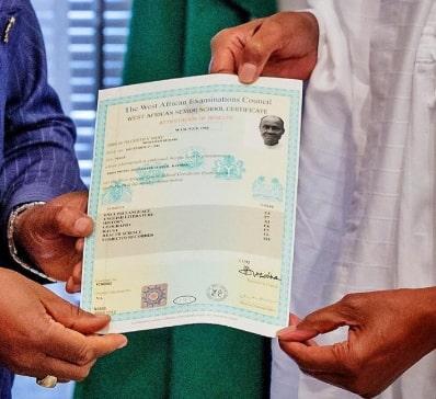 president buhari waec result