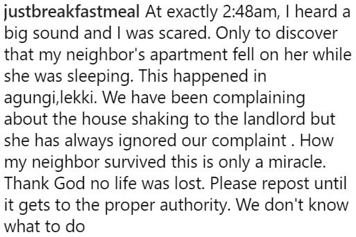 roof collapses sleeping woman lekki