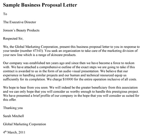 sample business proposal letter nigeria