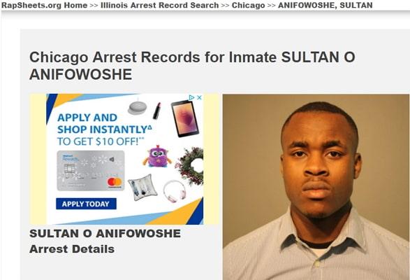 sultan anifowoshe arrest mugshot criminal records