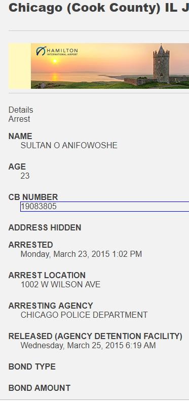 sultan anifowoshe arrest record