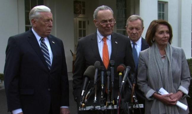 donald trump walks out on democrats meeting border wall