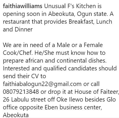 fathia balogun hiring cooks
