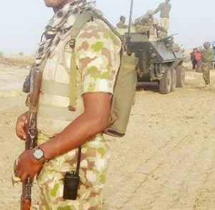 nigerian soldier on battlefield