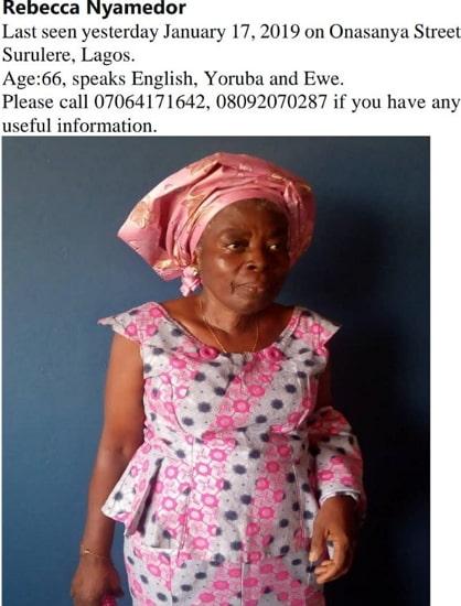 nigerian woman missing surulere lagos