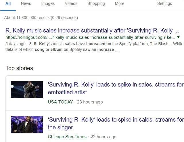 r kelly album sale increasing