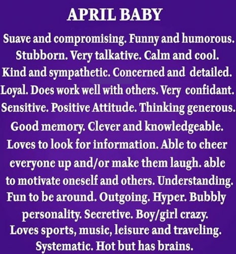 april born baby facts personality traits