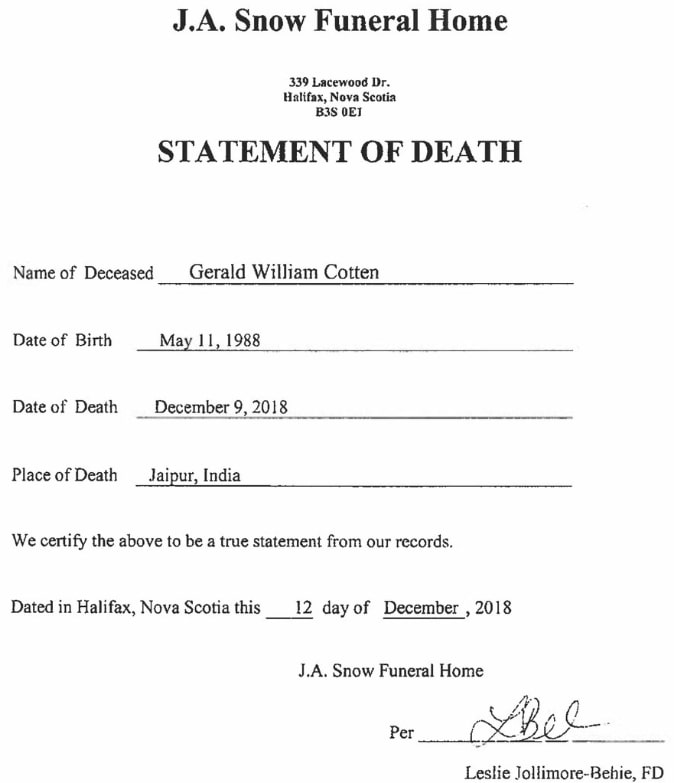 gerald cotten statement of death