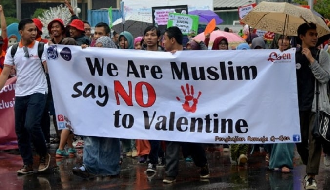 valentine's day celebration banned indonesia