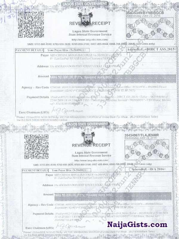 monalisa chinda tax receipts