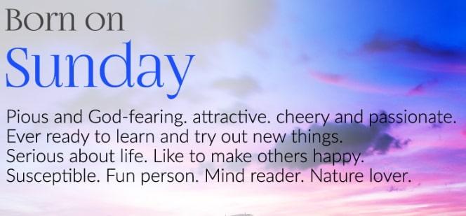 sunday born personality traits