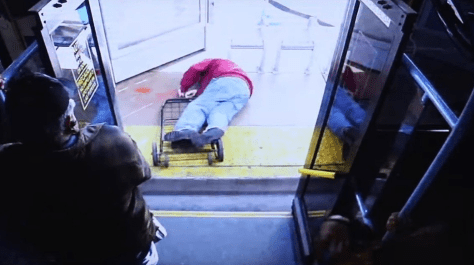 black woman pushes man off the bus