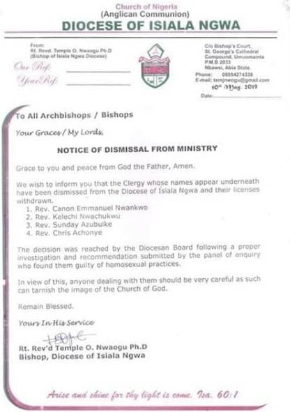 gay priest dismissed anglican church