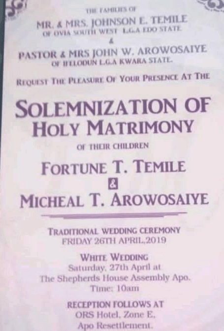 michael arowosaiye wedding invitation card