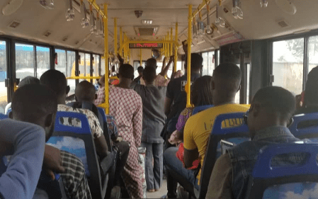 lady snatches manhood brt bus lagos