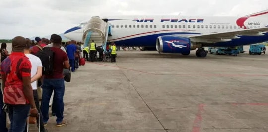 stomaway air peace private jet