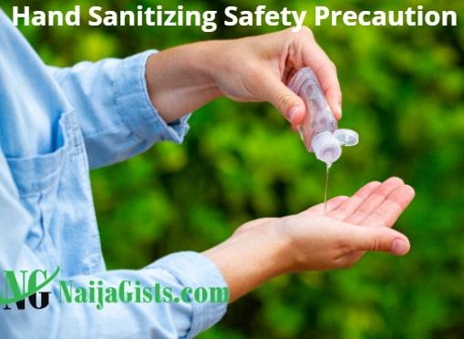 hand sanitizing safety instruction