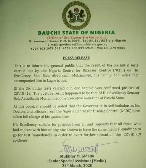 nigerian governor has coronavirus